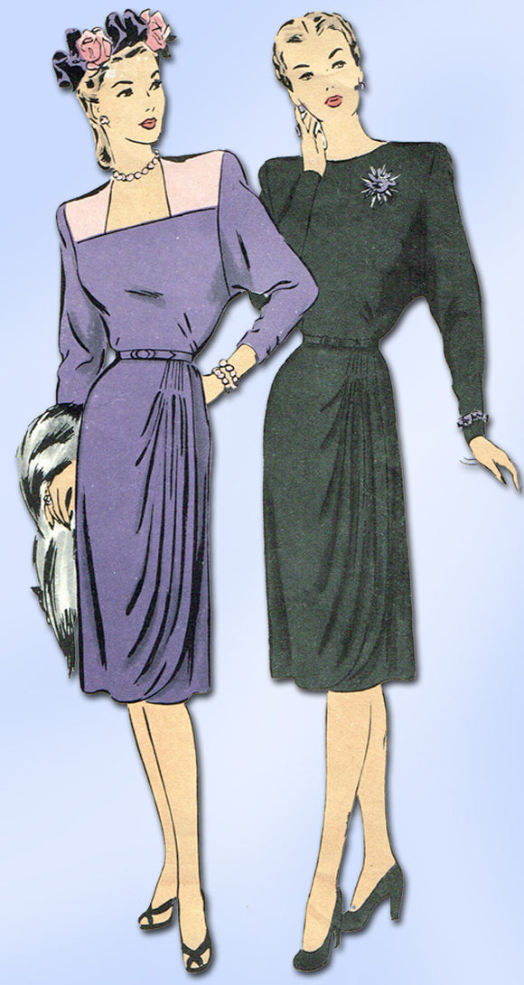 1940s Vintage Hollywood Sewing Pattern 1683 WWII Misses Cocktail Dress Sz 12 30B - Vintage4me2