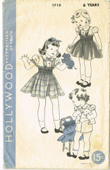 1930s Vintage Hollywood Sewing Pattern 1715 Girls Shirred Skirt and Blouse Sz 6 - Vintage4me2