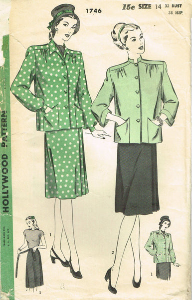 1940s Vintage Hollywood Sewing Pattern 1746 Misses Maternity Suit Size 14 32B - Vintage4me2