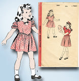 1940s Vintage Hollywood Sewing Pattern 1805 WWII Toddler Girls Keyhole Dress Sz6 - Vintage4me2