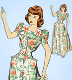 1940s Vintage Hollywood Sewing Pattern 1859 Uncut Misses Housecoat Size 32 Bust