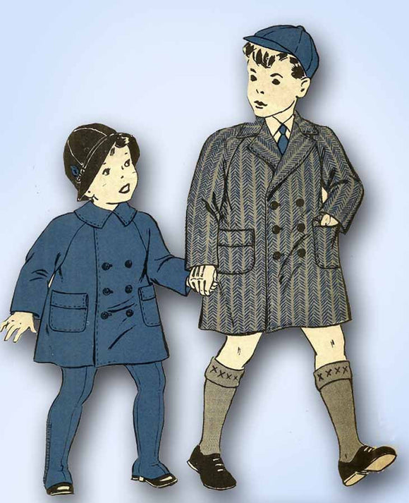 1940s Vintage Hollywood Sewing Pattern 1896 WWII Toddler Boys Winter Coat Sz 2 - Vintage4me2