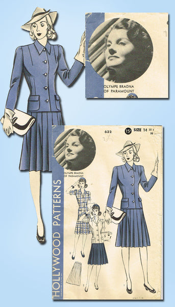 1940s Vintage Hollywood Starlet Sewing Pattern 632 Misses WWII Suit Size 14 32B - Vintage4me2
