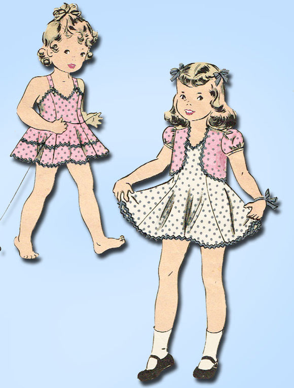 1940s Vintage Hollywood Sewing Pattern 704 Toddler Girls Dress or Jumper Size 2 - Vintage4me2