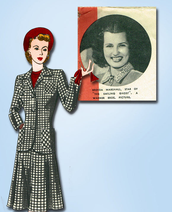1940s Vintage Hollywood Starlet Sewing pattern 721 Misses WWII Suit Size 12 30B - Vintage4me2