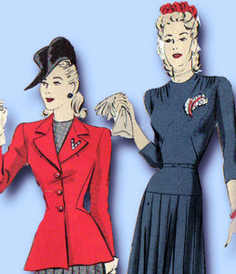 1940s Vintage Hollywood Sewing Pattern 769 FF Misses Dress & Peplum Jacket 32B - Vintage4me2