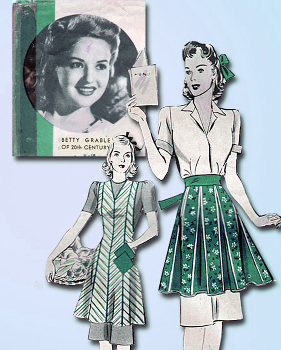 1940s Rare Hollywood Starlet Pattern 774 Betty Grable Apron Set 40 to 42 Bust