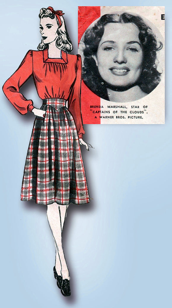 1940s Hollywood Starlet Sewing Pattern 792 Brenda Marshall Skirt & Blouse Sz 28B