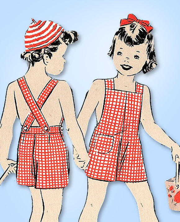 1940s Vintage Hollywood Pattern 882 Toddlers Overalls w Crochet Shirt & Cap Sz 6