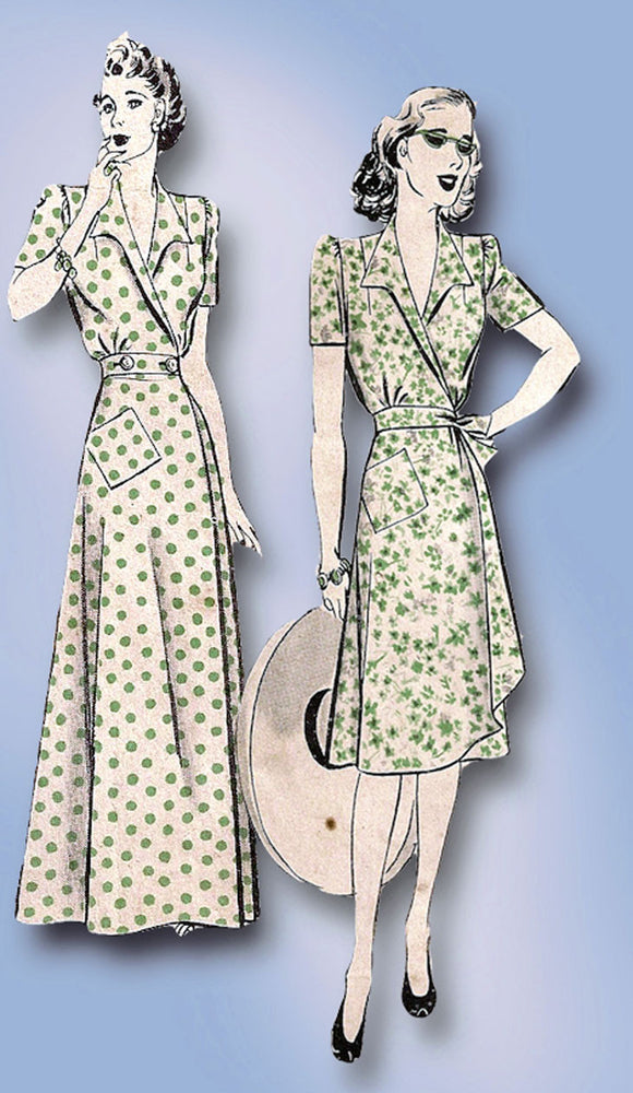 1940s Vintage Hollywood Sewing Pattern 906 WWII Misses Dress or Housecoat Sz 14 - Vintage4me2
