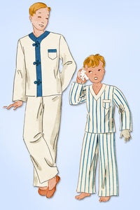 1930s Original Vintage Hollywood Pattern 957 Little Boys Asian Pajamas Size 8