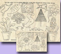 1940s Vintage Home Notes Embroidery Transfer Set of 12 Small Mixed Motifs Uncut