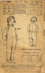 1920s Vintage Ladies Home Journal Sewing Pattern 1400 Toddler Footie Pajamas Sz4 - Vintage4me2