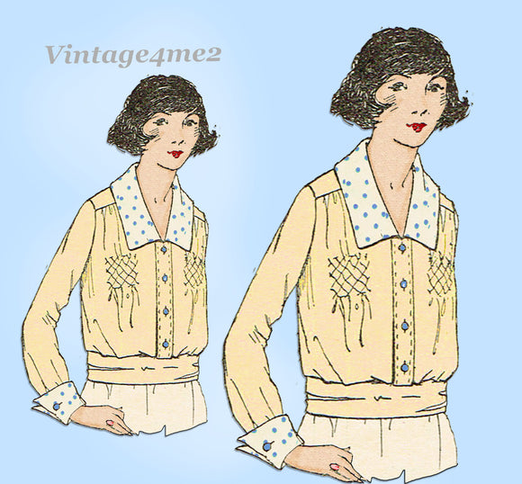 Ladies Home Journal 2728: 1920s Uncut Misses Blouse 32 B Vintage Sewing Pattern