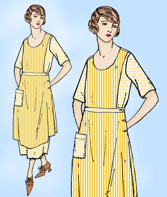 Ladies Home Journal 2760: 1920s Uncut Misses Apron Sz 26W Vintage Sewing Pattern
