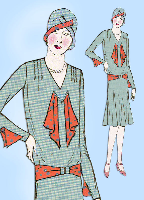 1920s VTG Ladies Home Journal Sewing Pattern 6302 Uncut Misses Flapper Dress 34B - Vintage4me2