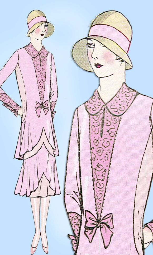 1920s VTG Ladies Home Journal Sewing Pattern 6303 Uncut Flapper Dinner Dress 36B - Vintage4me2