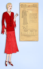 1930s Ladies Home Journal Sewing Pattern 6455 Uncut Misses Dinner Dress Sz 38 B
