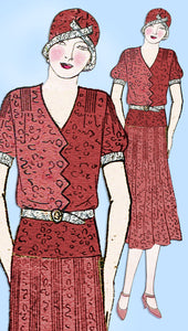 1930s Ladies Home Journal Sewing Pattern 6458 Misses Pin Tucked Dress Sz 38 Bust - Vintage4me2