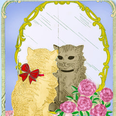 1930s Vintage Laura Wheeler Embroidery Transfer 1722 Kitty in the Mirror Scene