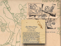 1930s Uncut Laura Wheeler Embroidery Transfer 227 Cowboy Tea Towel Motifs