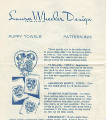 1940s Vintage Laura Wheeler Embroidery Transfer 923 Uncut Puppy Romance Motifs