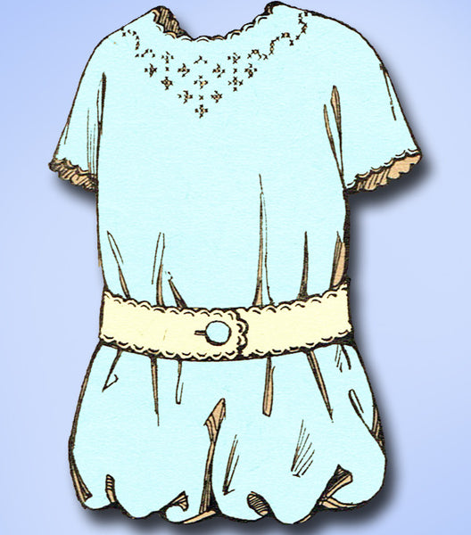 1910s Antique Embroidery Transfer 946 Rare and Sweet Uncut Toddler Romper Trim