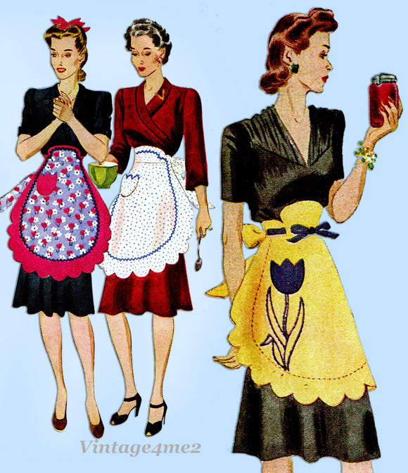 McCall 1011: 1940s Lovely Misses Scalloped Apron Fits All Vintage Sewing Pattern