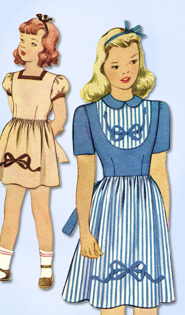 1940s Vintage McCall Sewing Pattern 1026 WWII Girls Embroidered Dress Size 8
