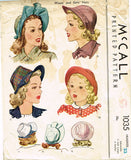 1940s Original Vintage McCall Sewing Pattern 1035 Misses Set of Brimmed Hats - Vintage4me2