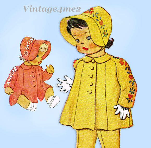 1940s Original Vintage McCall Pattern 1082 Baby Girls Heirloom Coat & Bonnet Sz1