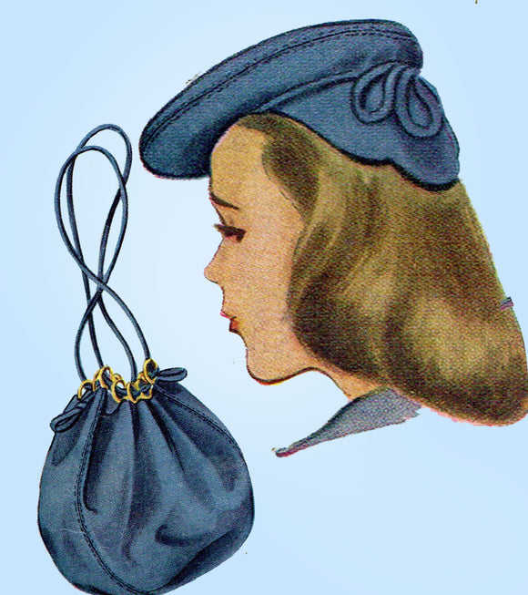 1940s Vintage McCall Sewing Pattern 1115 Misses Hat and Purse Millinery Set 23in - Vintage4me2