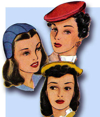 1940s Vintage McCall Sewing Pattern 1115 Misses Hat and Purse Millinery Set