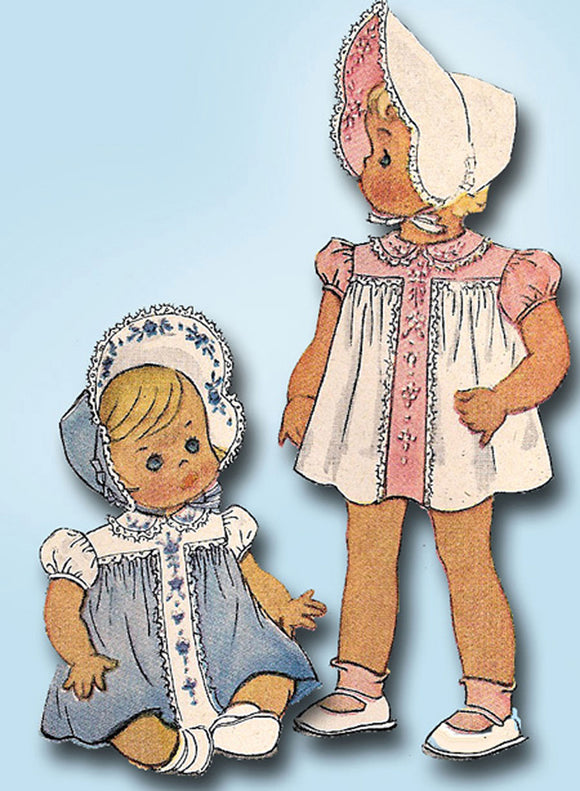 McCall 1126: 1940s Vintage McCalls Sewing Pattern Baby Girls Heirloom Dress & Bonnet Size 1 vintage4me2