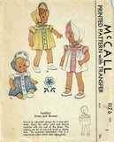 McCall 1126: 1940s Vintage McCalls Sewing Pattern Baby Girls Heirloom Dress & Bonnet Size 1
