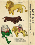 1940s Vintage McCall Sewing Pattern 1223 WWII Stuffed Lion & Dachshund Dog Doll - Vintage4me2
