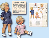 1940s Vintage McCalls Sewing Pattern 1237 WWII Toddler Boys Creeper Romper Sz 1