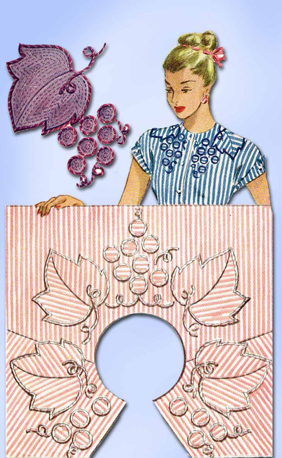 1940s Vintage McCall Embroidery Transfer 1242 Uncut Wine Grape Neckline Trims