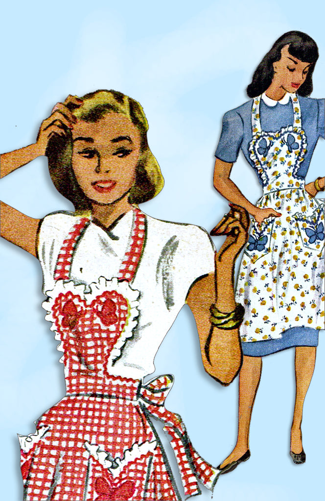 1940s Vintage McCall Sewing Pattern 1257 Misses Butterfly Apron Set Sz 30 32 B
