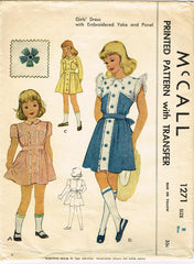 1940s Original Vintage McCall Sewing Pattern 1271 Girls Embroidered Dress Sz 8