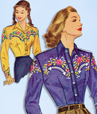 1940s Vintage McCall Sewing Pattern 1295 Misses Embroidered Western Shirt Sz 32B