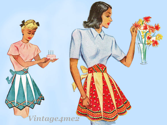 McCall 1312: 1940s Charming Misses Pieced Apron Fits All Vintage Sewing Pattern