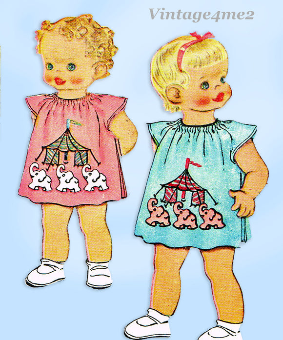 McCall 1340: 1940s Cute Baby Girls Circus Apron Size 1-3 Vintage Sewing Pattern
