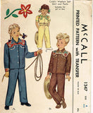1940s Vintage McCall Sewing Pattern 1347 Toddlers Western Suit or Costume Size 4 -Vintage4me2
