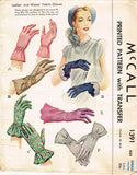 1940s Vintage McCalls Sewing Pattern 1391 Uncut Misses Set of Gloves Size 6 6.5