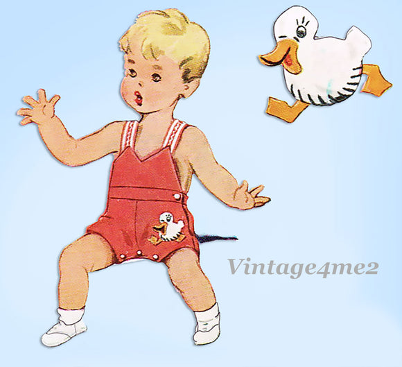1940s Vintage McCall Sewing Pattern 1395 Toddler Boys Ducky Romper & Blouse Sz 1
