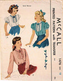 1940s Vintage McCall Sewing Pattern 1476 Uncut Little Girls Tucked Blouse Sz 12 - Vintage4me2