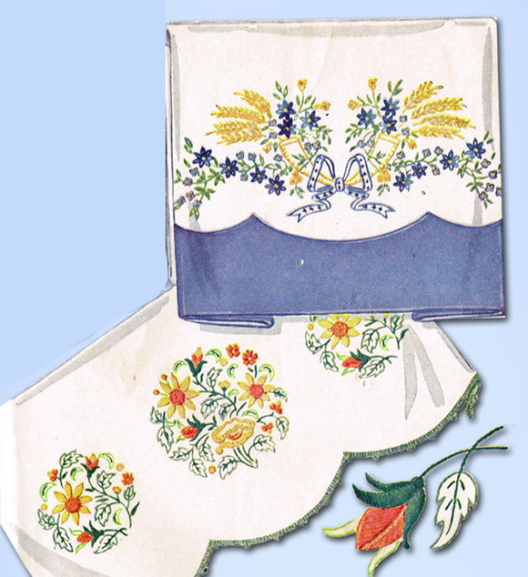 1940s Vintage McCall Embroidery Transfer 1495 Uncut Floral Pillowcase Motifs