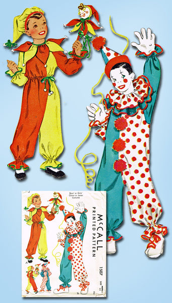 1940s Vintage Kids Halloween Clown Costume 1949 McCall Sewing Pattern Size 6-8 - Vintage4me2