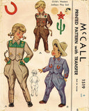 1940s Vintage McCall Sewing Pattern 1519 Toddlers Western Suit w Jodhpurs Size 4 -Vintage4me2
